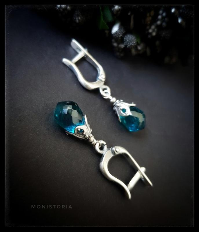 Серебряные серьги с бриолетами кварца Зеленый Кварц, серебро. Куличенко Ирина - фото 2