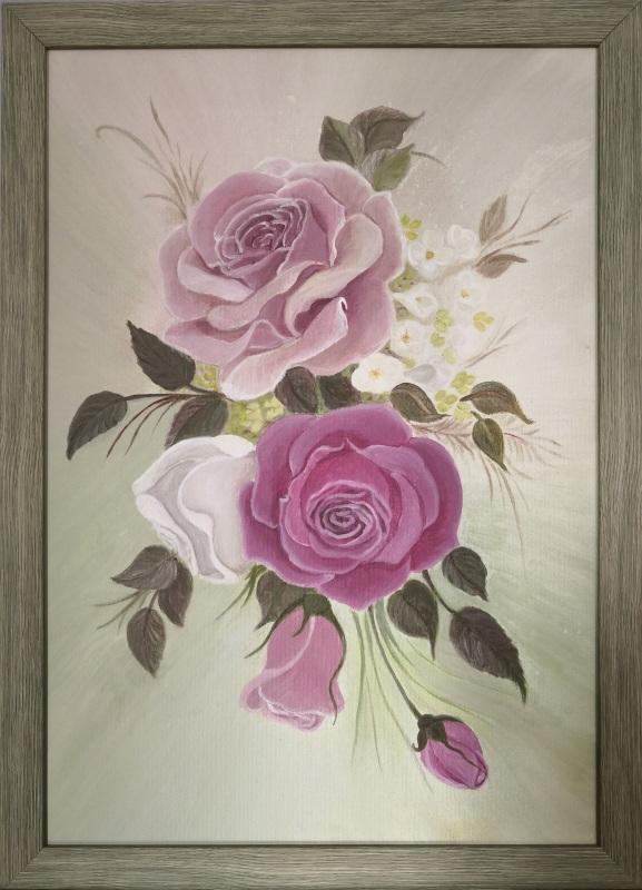 Розы  Холст на подрамнике, акри Кушнаренко Инна - фото 1