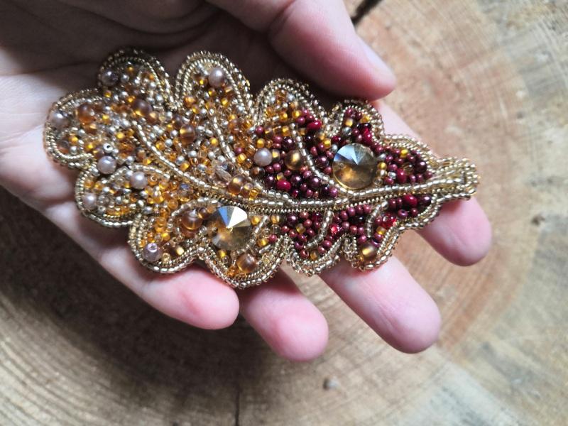 Дубовый лист Оранжевый бисер, стразы, кристаллы, Кушнаренко Инна - фото 3