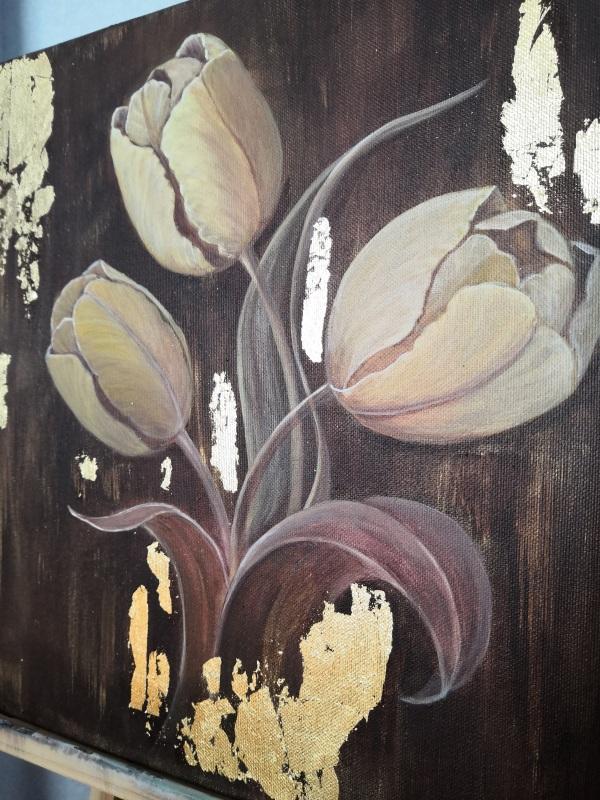 Золотые тюльпаны  Холст на подрамнике, акри Кушнаренко Инна - фото 3