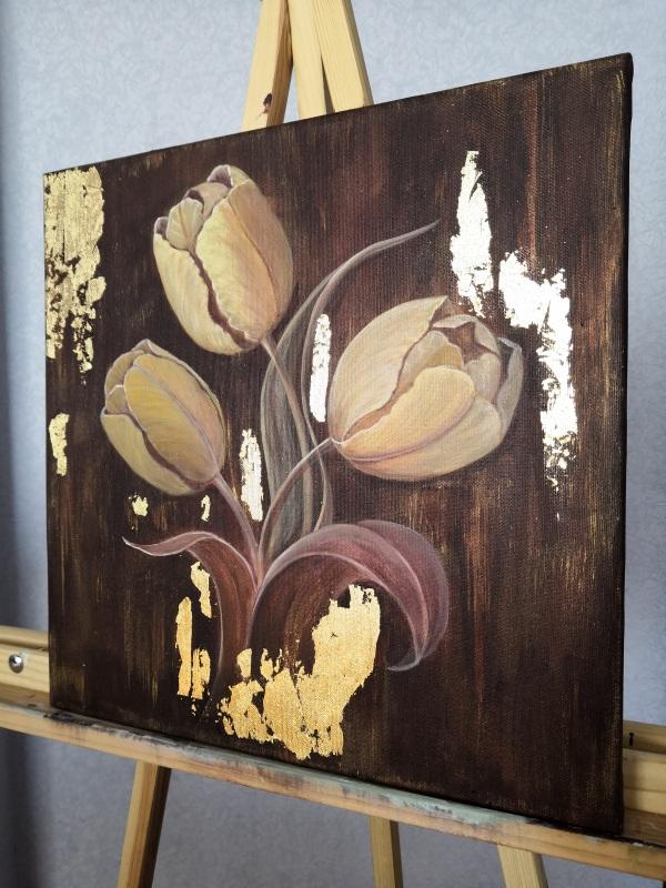 Золотые тюльпаны  Холст на подрамнике, акри Кушнаренко Инна - фото 2