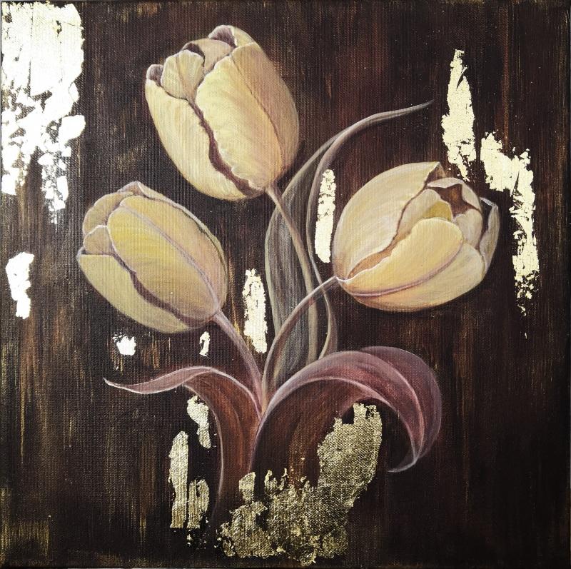Золотые тюльпаны  Холст на подрамнике, акри Кушнаренко Инна - фото 1