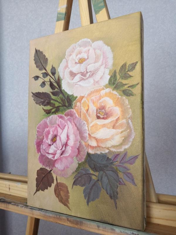 Дамасские розы  Холст на подрамнике, акри Кушнаренко Инна - фото 4