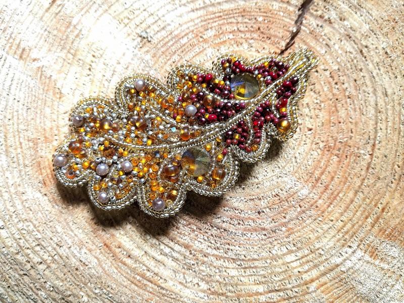 Дубовый лист Оранжевый бисер, стразы, кристаллы, Кушнаренко Инна - фото 1