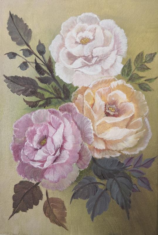 Дамасские розы  Холст на подрамнике, акри Кушнаренко Инна - фото 1