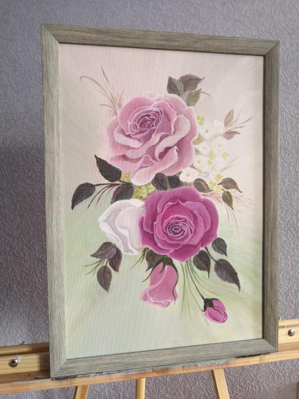 Розы  Холст на подрамнике, акри Кушнаренко Инна - фото 4