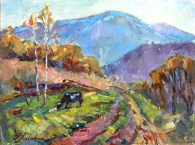 Дорога в горы  Масляные краски, оргалит Кислякова Алла - фото 1
