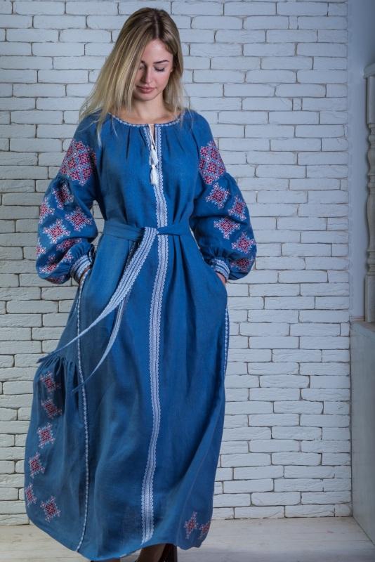 """Платье вышитое голубое длинное """"Адонис"""" Голубой 100% высококачественный л Zirka Levytska - фото 2"""