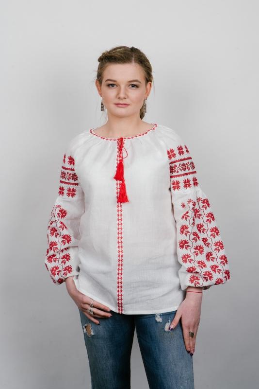 """Блузка вышиванка белая """"Хмелики"""" Белый 100% высококачественный л Zirka Levytska - фото 1"""