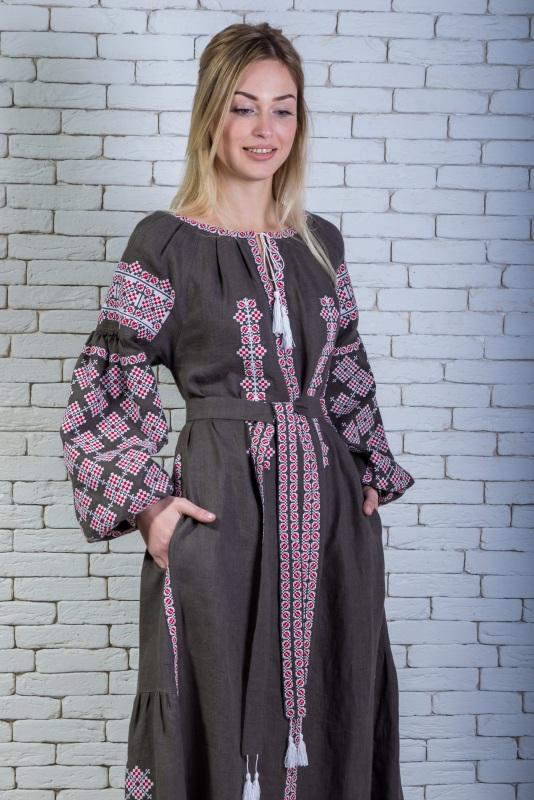 """Платье вышитое длинное (хаки) """"Говерляна"""" Серый 100% лен (Италия) Zirka Levytska - фото 3"""