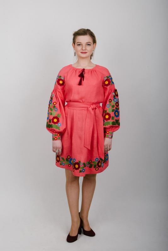 """Платье вышитое коралловое """"Колодочки"""" Красный 100% высококачественный л Zirka Levytska - фото 1"""