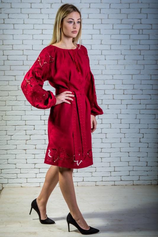 """Платье вышитая марсала """"Ришилье"""" Красный 100% высококачественный л Zirka Levytska - фото 1"""