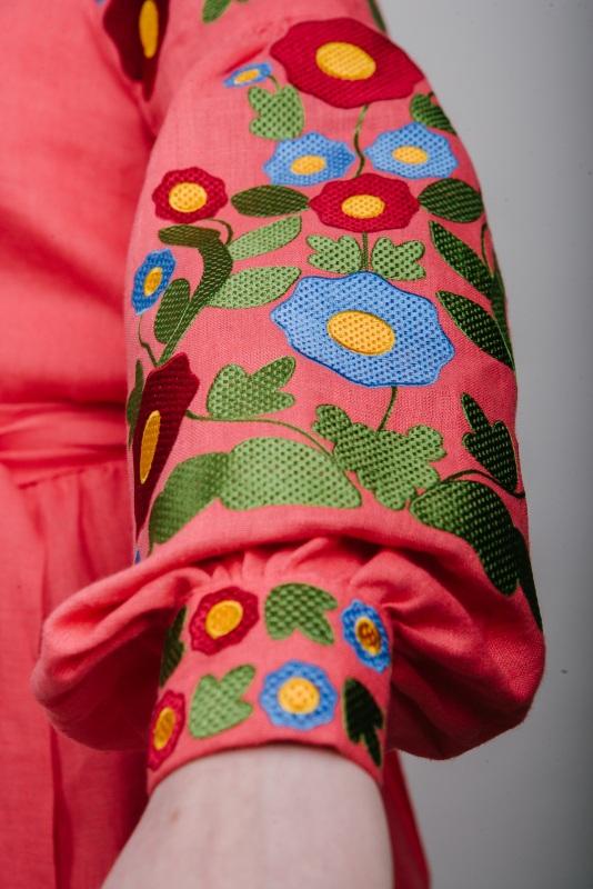 """Платье вышитое коралловое """"Колодочки"""" Красный 100% высококачественный л Zirka Levytska - фото 3"""
