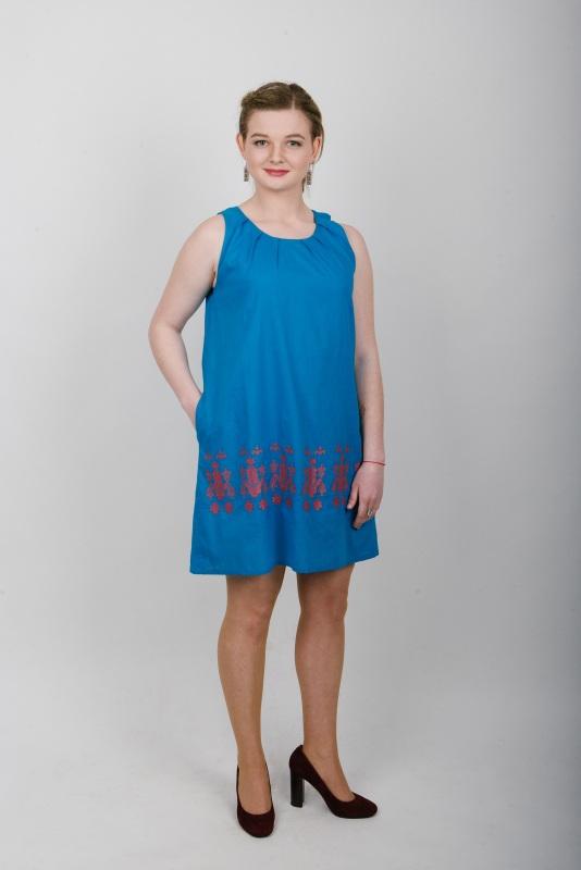 Сарафан вышитый голубой Голубой батист Zirka Levytska - фото 1