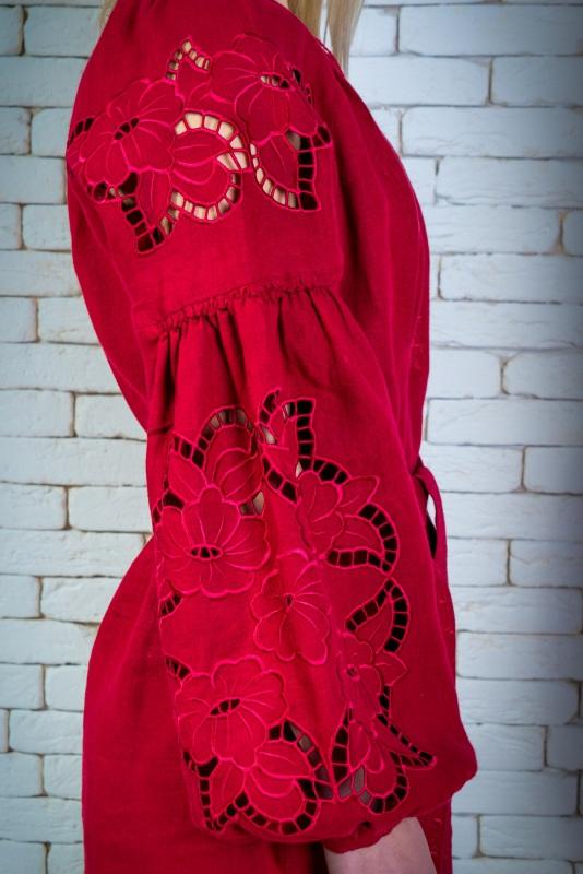 """Платье вышитая марсала """"Ришилье"""" Красный 100% высококачественный л Zirka Levytska - фото 3"""