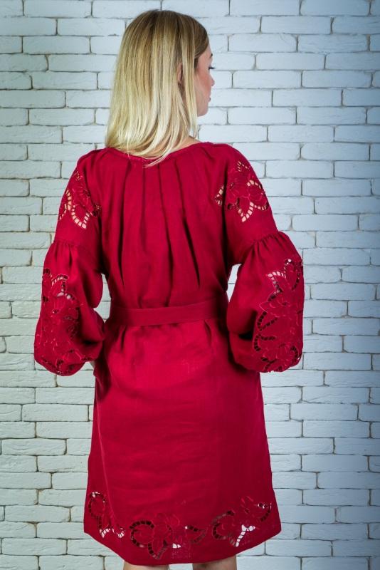 """Платье вышитая марсала """"Ришилье"""" Красный 100% высококачественный л Zirka Levytska - фото 4"""