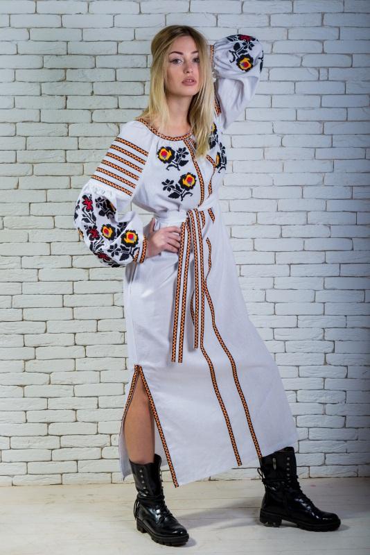 """Платье вышиванка белая """"Людмила"""" Белый 100% лен Zirka Levytska - фото 1"""