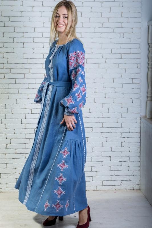 """Платье вышитое голубое длинное """"Адонис"""" Голубой 100% высококачественный л Zirka Levytska - фото 1"""
