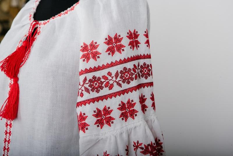 """Блузка вышиванка белая """"Хмелики"""" Белый 100% высококачественный л Zirka Levytska - фото 2"""