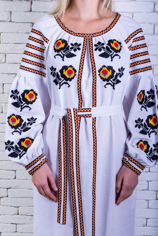 """Платье вышиванка белая """"Людмила"""" Белый 100% лен Zirka Levytska - фото 3"""