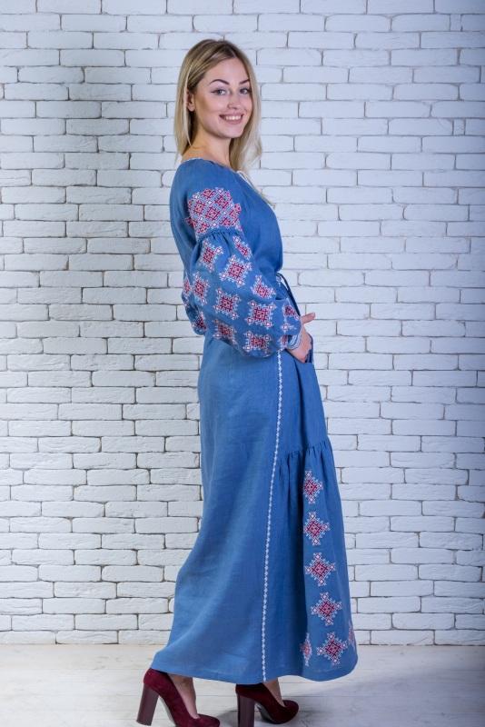 """Платье вышитое голубое длинное """"Адонис"""" Голубой 100% высококачественный л Zirka Levytska - фото 4"""