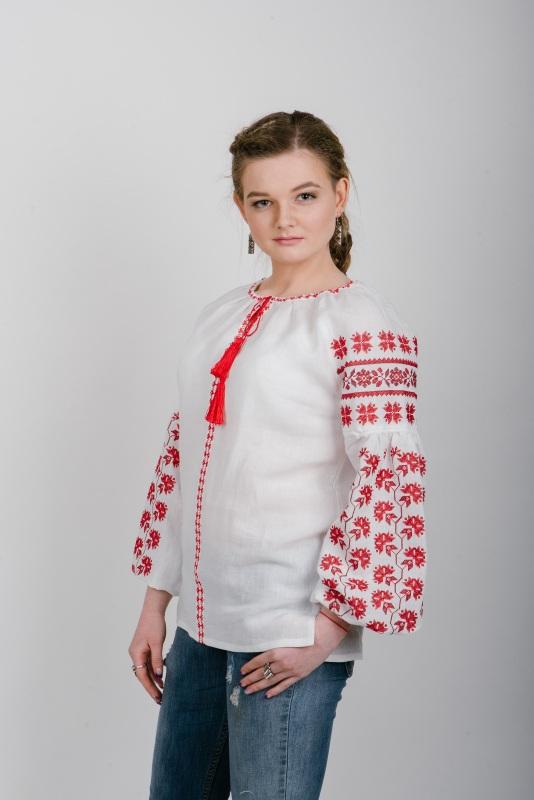"""Блузка вышиванка белая """"Хмелики"""" Белый 100% высококачественный л Zirka Levytska - фото 3"""