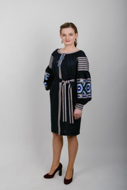 """Платье вышитое гранат """"Веритка"""" Черный 100% высококачественный л Zirka Levytska - фото 3"""