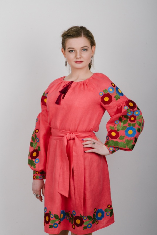 """Платье вышитое коралловое """"Колодочки"""" Красный 100% высококачественный л Zirka Levytska - фото 2"""
