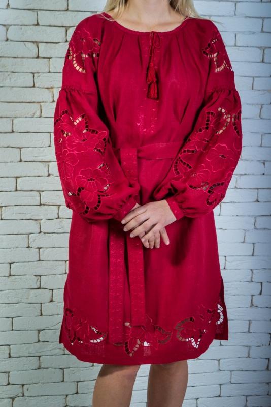 """Платье вышитая марсала """"Ришилье"""" Красный 100% высококачественный л Zirka Levytska - фото 2"""