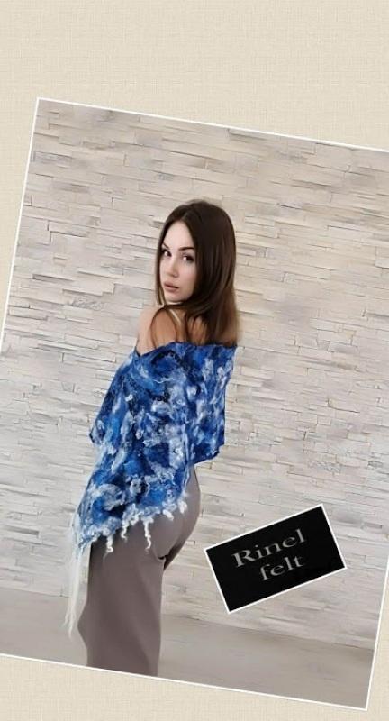 Накидка пончо в Джинсовом стиле Синий шерсть меринос, флисы, ше Пыркова Лина - фото 1