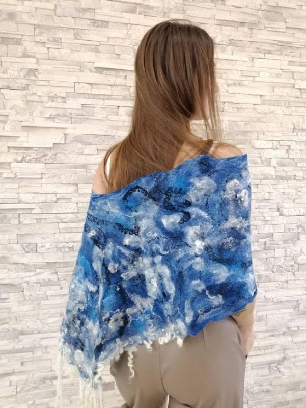 Накидка пончо в Джинсовом стиле Синий шерсть меринос, флисы, ше Пыркова Лина - фото 4