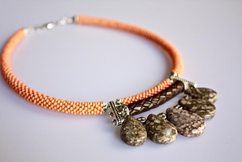 Натуральность Оранжевый окаменелости, бисер, нату Коваленко Оксана - фото 1
