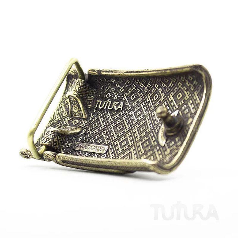 Кожаниый ремень с латунной пряжкой ручной роботы Вышиванка  Черный Для ремня используется  н Tura - фото 3