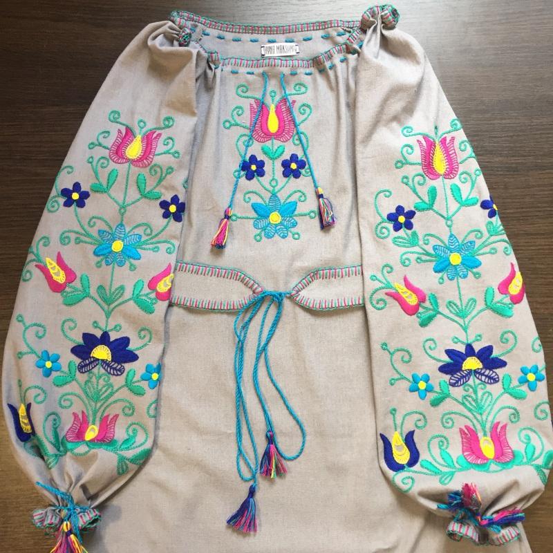 Платье красота Белый Выполнена из льна, вышивк Максымив Ирина - фото 1