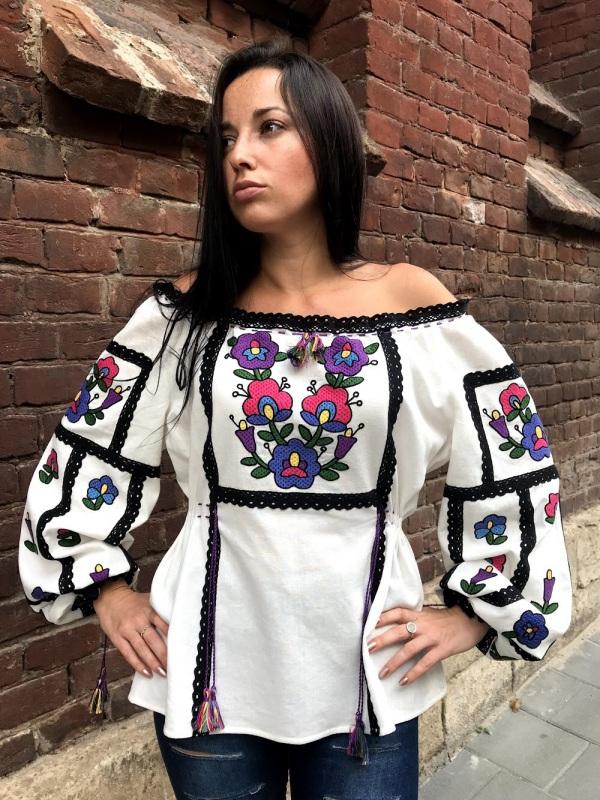 Вышиванка особая Черно-белый Выполнена из домотканого Максымив Ирина - фото 3