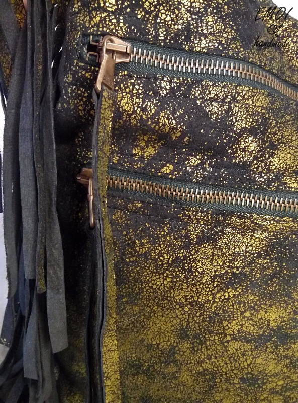 """Сумка хобо """"Кисть"""" черно-золотая Желтый натуральная замша, бисер Макухина Анна - фото 2"""