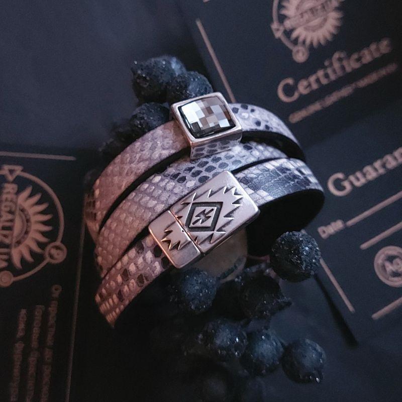 Кожаный браслет Regi Коричневый Swarovski кристал, тонкий Кощавская Юлия - фото 1
