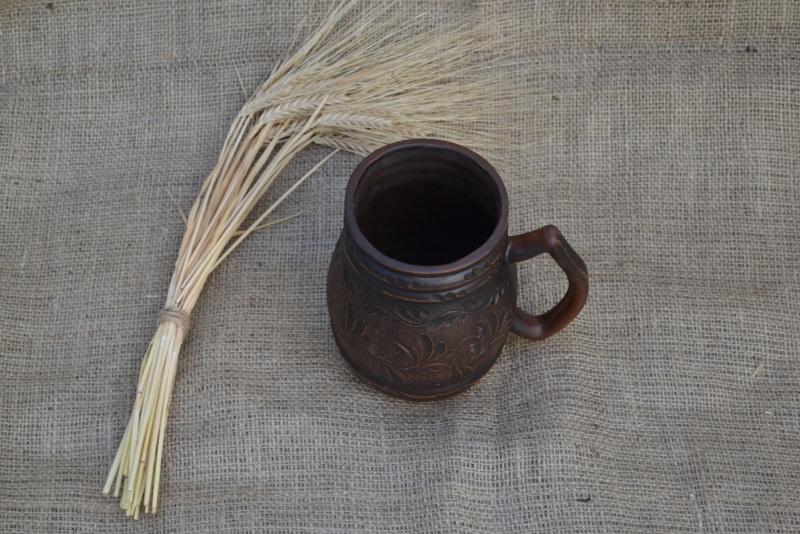 Пивний келих кухоль для пива 1 літр Коричневий Червона глина Мартинко Сергій - фото 2