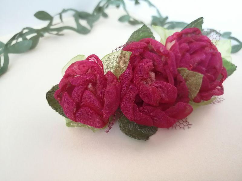Заколка с красными цветами Красный органза Мартынюк Татьяна - фото 3