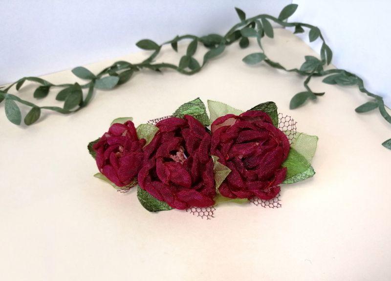 Заколка с красными цветами Красный органза Мартынюк Татьяна - фото 5