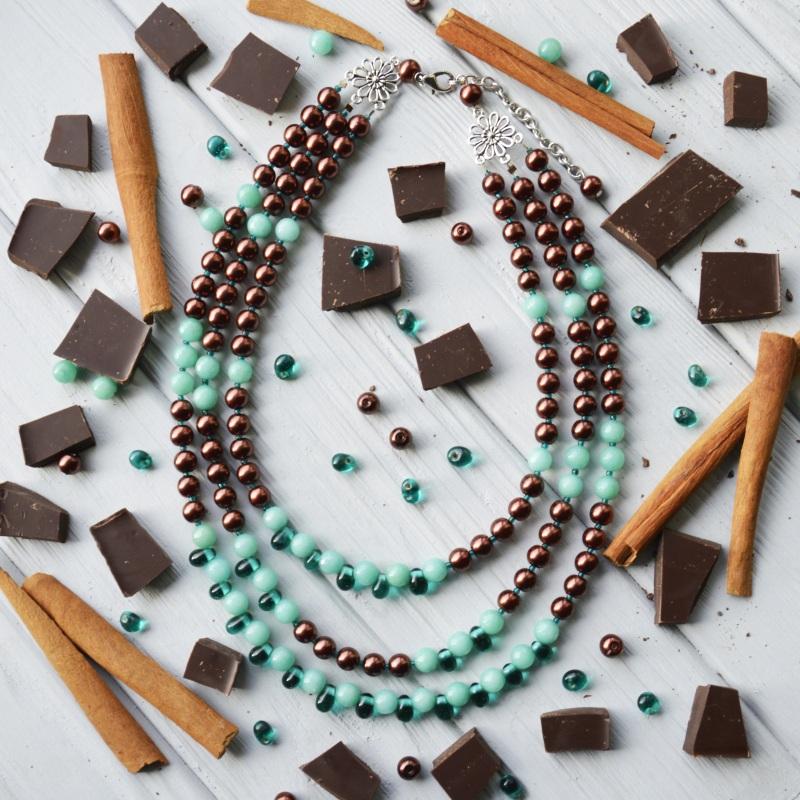 """""""Мятный шоколад"""" Разноцветный турмалин, стекло, бисер, Горошок-Бобошок - фото 1"""