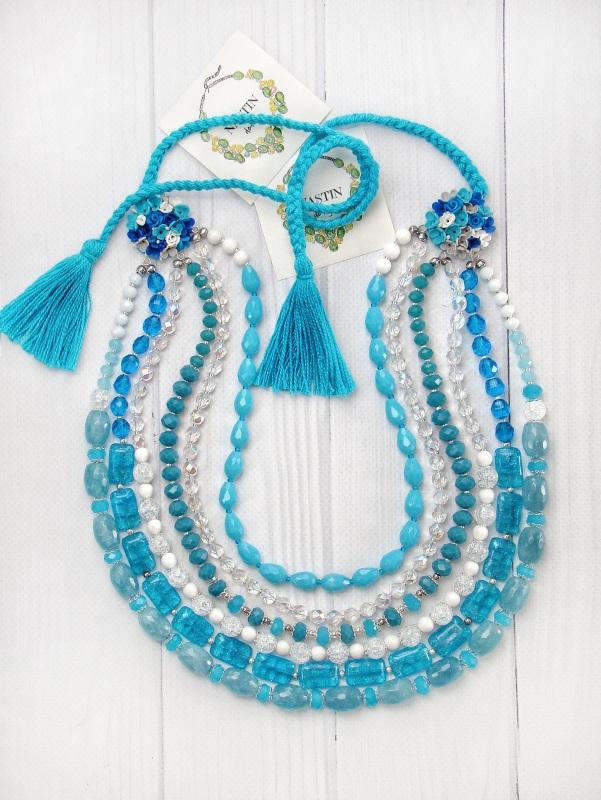 """Ожерелье """"Речные цветы"""" Голубой цветы ручной работы, нату Попова Анастасия - фото 1"""