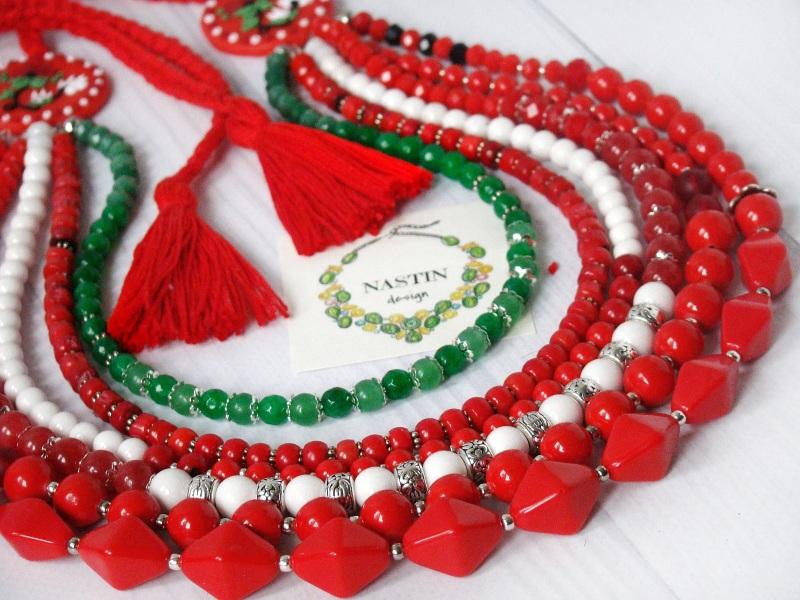 Счастливое ожерелье Красный Натуральный коралл, агат, Попова Анастасия - фото 3