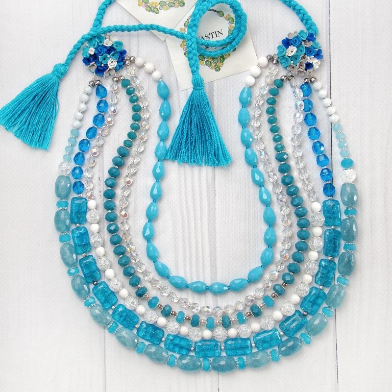 """Ожерелье """"Речные цветы"""" Голубой цветы ручной работы, нату Попова Анастасия - фото 2"""