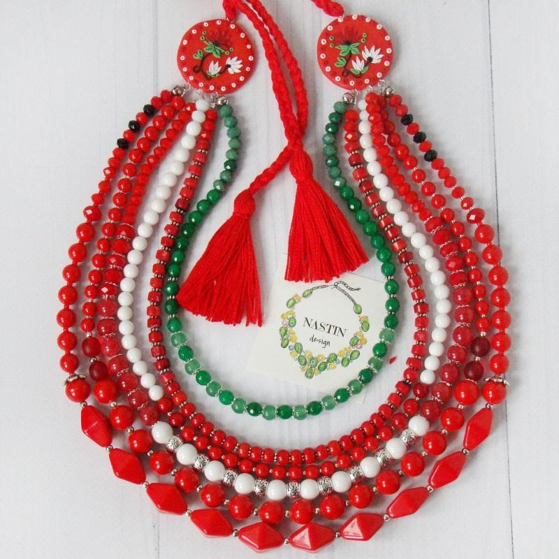 Счастливое ожерелье Красный Натуральный коралл, агат, Попова Анастасия - фото 1