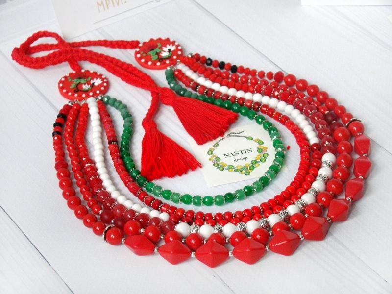 Счастливое ожерелье Красный Натуральный коралл, агат, Попова Анастасия - фото 2