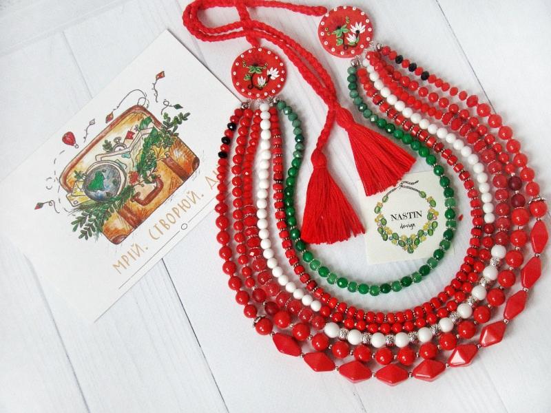 Счастливое ожерелье Красный Натуральный коралл, агат, Попова Анастасия - фото 4