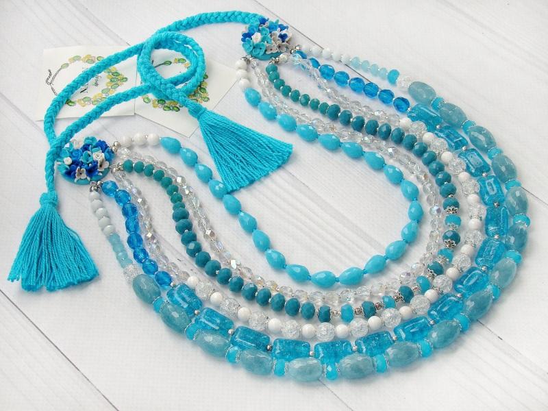 """Ожерелье """"Речные цветы"""" Голубой цветы ручной работы, нату Попова Анастасия - фото 3"""