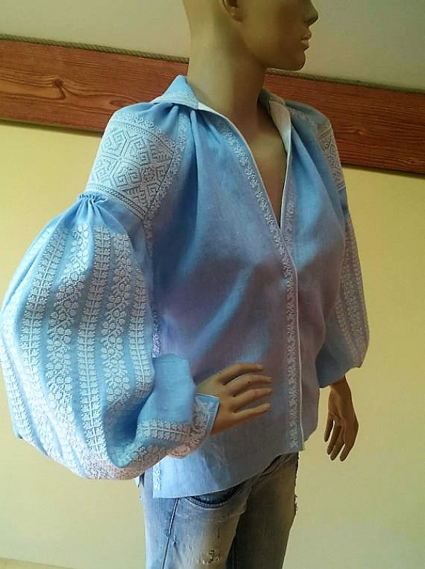Женская вышиванка Голубой 100% высококачественный л Мацигин Наталья - фото 3