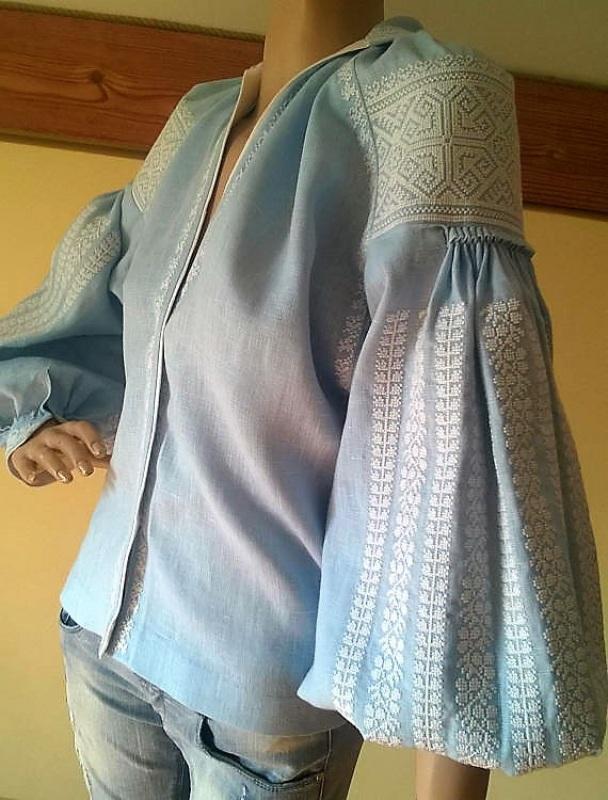 Женская вышиванка Голубой 100% высококачественный л Мацигин Наталья - фото 4